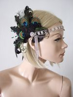 "Peacock Feathers Lace Crystal Flapper 1920's Art Deco Headband Cocktail Party Headpiece - Gatsby ""Lou"". Headbands for a Great Gatsby Party. Flapper Girls headbands. 1920s party accessories. Roaring 20s party accessories."